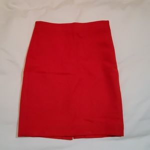 J Crew Red Wool Pencil Skirt size 00